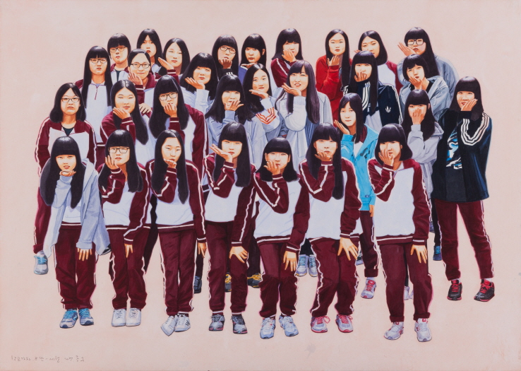 Let's Go to School, Class 8 - Sewol, 2017, Acrylic on Hanji, 65x91cm
