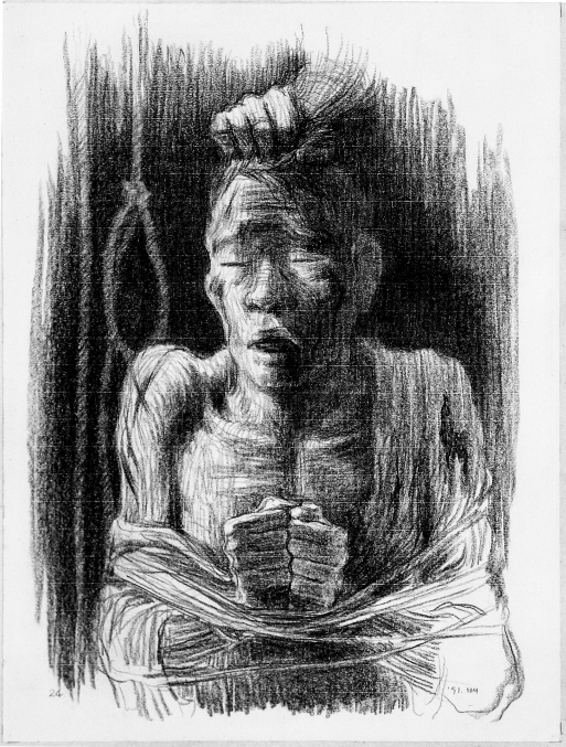 Torture, 1991, Charcoal on paper, 65.7x49.7cm