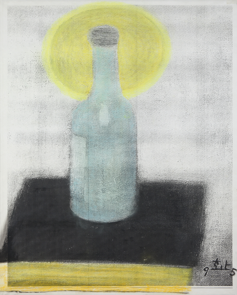 Soju and the Bible, 1995, An enlarged copy of oil painting, 131.5x89cm