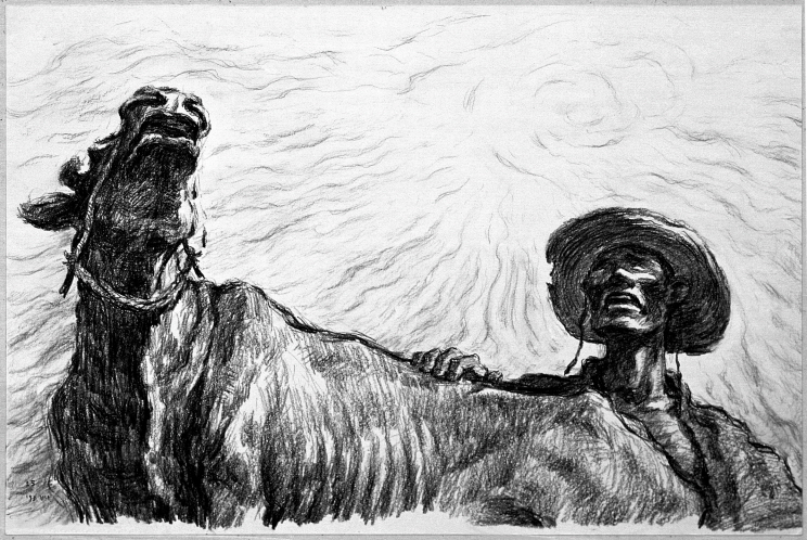 Drought, 1991, Conte on paper, 34.4x51.2cm