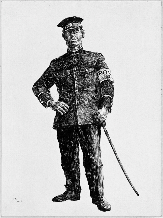 A Policeman of the American Military Government, 1990, Pen and black ink on paper, 39x29cm