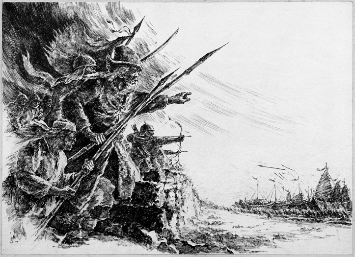 The Battle Against the Mongol (Empire Yuan), 1990, Pen and black ink on paper, 38.7x53.2cm