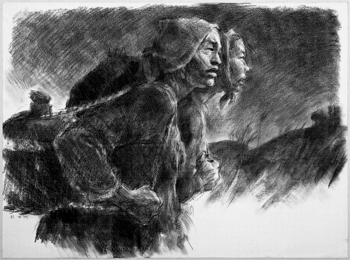 Carrying Food, 1991, Charcoal on paper, 55.3x76cm
