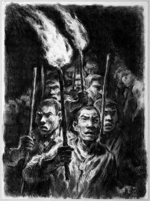 The Torchlight Parade, 1991, Charcoal on paper, 76x55.3cm