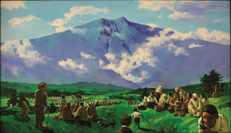 The People on the Foot of Mt. Halla, 1992, Acrylic on canvas, 112x193.7cm