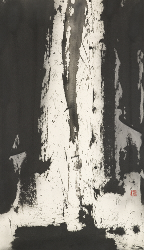 KIM Ho-deuk Waterfall Korean ink on cotton cloth