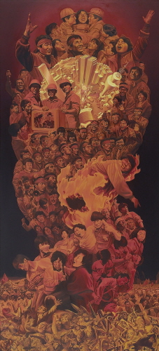 SHIN Hakshul June Uprising and July, august labor struggle 1991 Oil on canvas 286x130.3cm