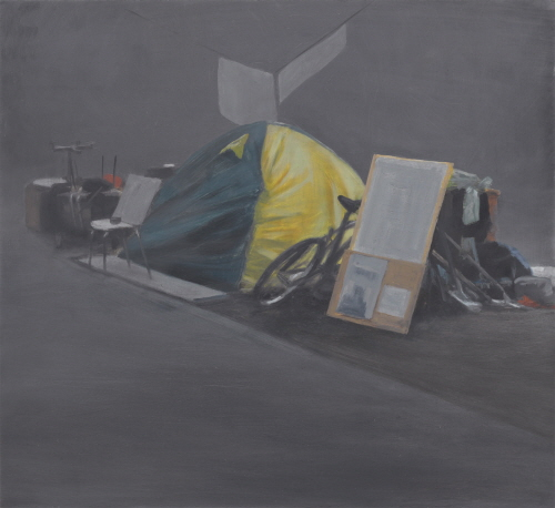 Tim EITEL Untitled(Protest) 2009 Oil on board, 27.9×30.5cm